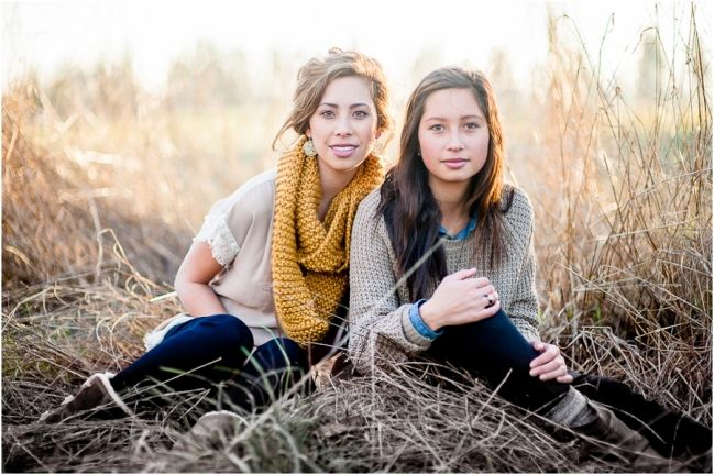 winter sister portrait session in a field