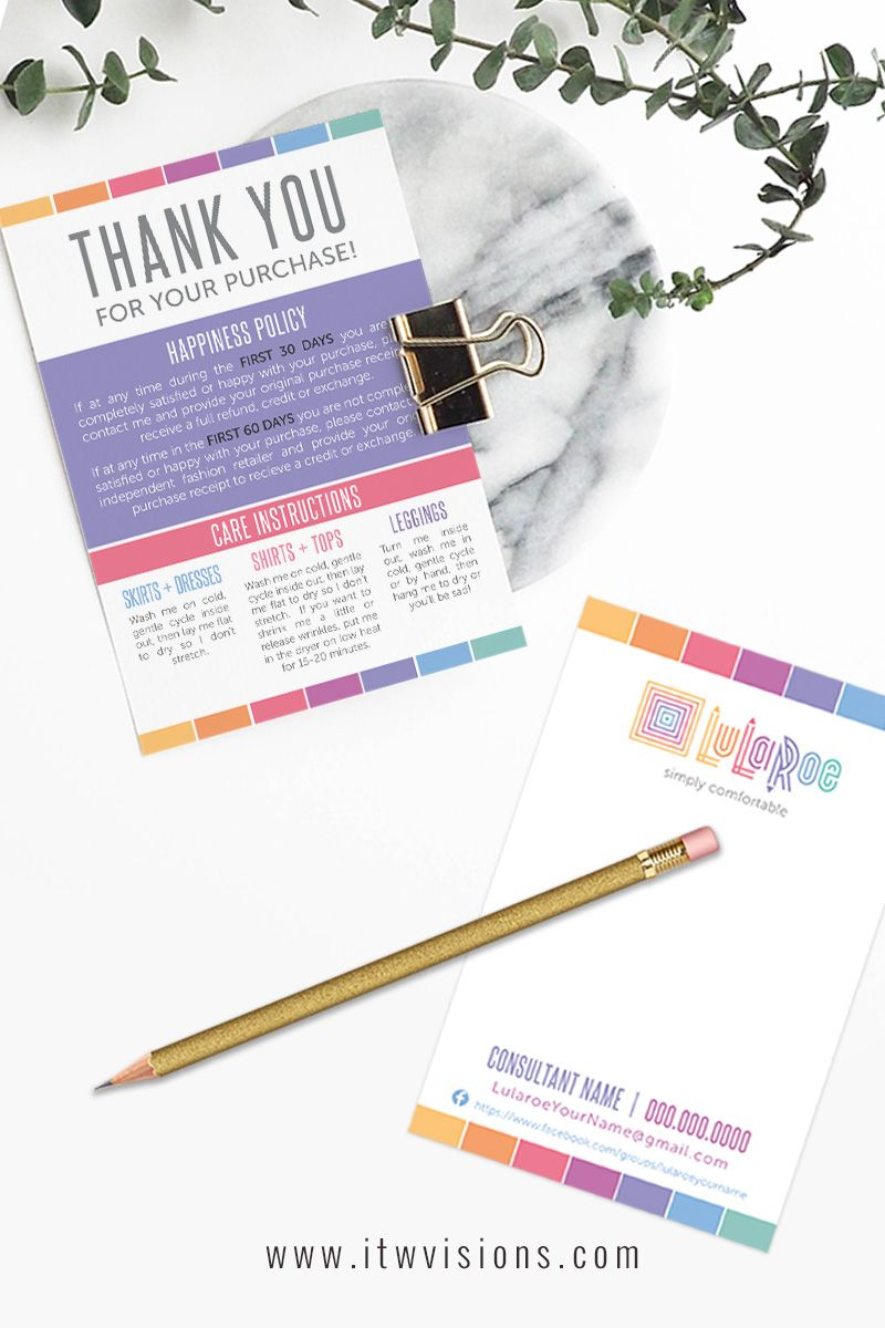 Thank you / Care Card - LuLaRoe stripes | Lularoe business cards ...