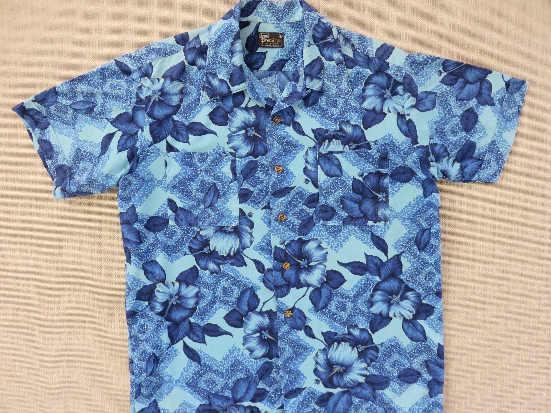 e1ab82c94b19 Vintage Hawaiian Shirt Men SEARS PREMIERE Collection 60s Mod Poppy Flower  Power Hipster Aloha Shirt Surfer - M - Oahu Lew s Shirt Shack by ...