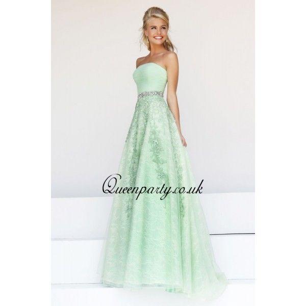mint dresses weddings | 2014 Mint Green Strapless Long Prom Dress ...