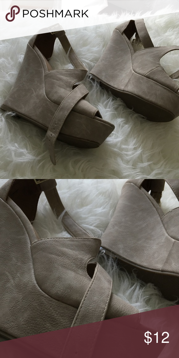 Nude/tan color leather Nude tan color NEW!! Never walked in! Brand new Shoes Platforms