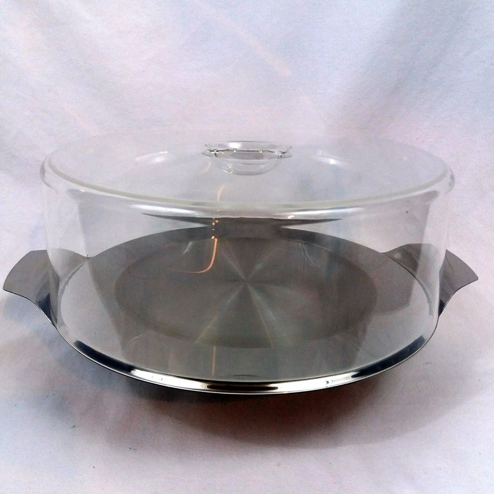 VTG Mid Century Stainless Cake Plate Stand Made in Germany Dessert ...