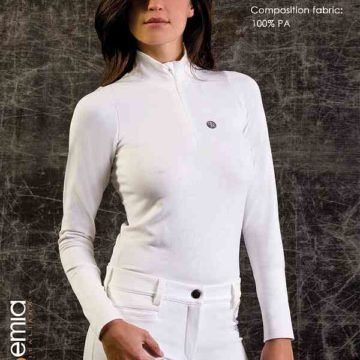1058c691d08 Accademia Italiana Ladies Long Sleeve Polo Shirt in White