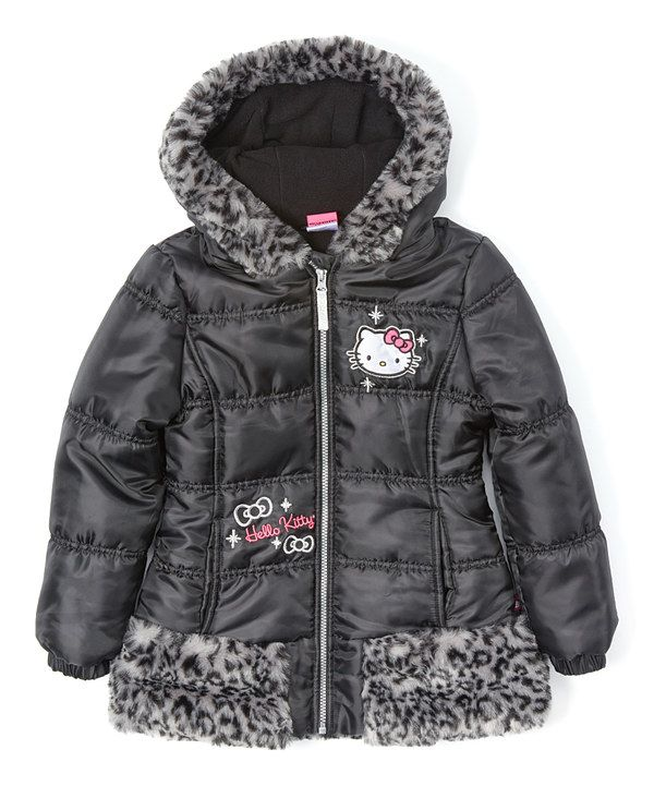 70b2219fd Look at this Hello Kitty Black Hello Kitty Leopard Faux Fur Puffer Coat -  Girls on #zulily today!