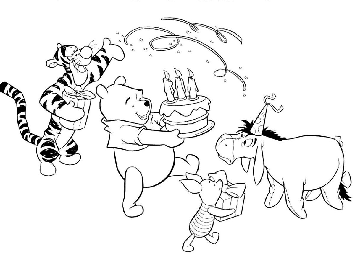 happy birthday pooh bear coloring pages | Happy Birthday Color Page Winnie the Pooh | Kiddo Shelter ...