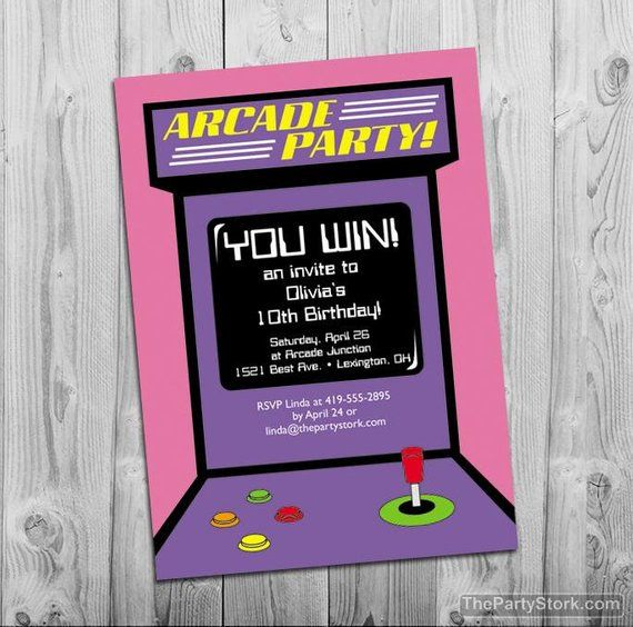 Arcade Party Invitation Digital Printable Invite For Girls Arcade