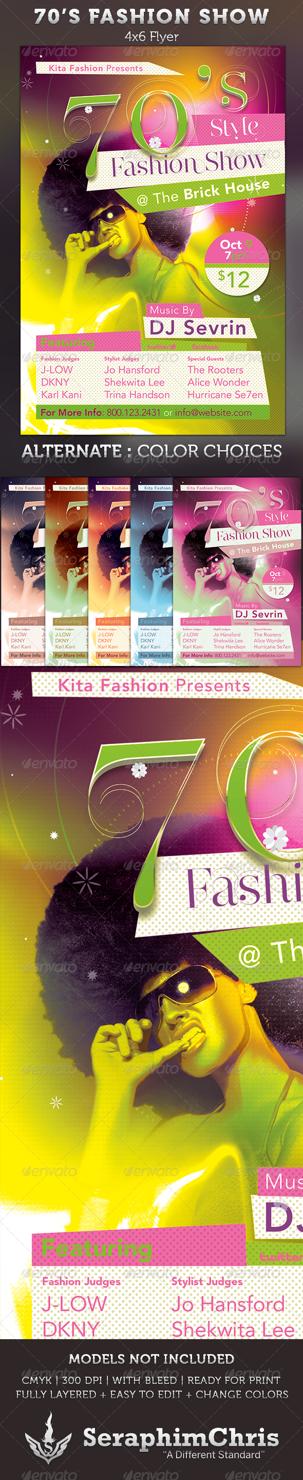 70s poster design template - 70 S Fashion Show Flyer Template