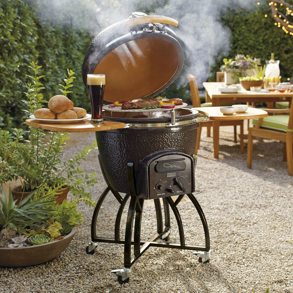 BOutdoor Charcoal BBQ Grill Kamado Ceramic Portable Backyard Cooking Steel  Frame #Vision