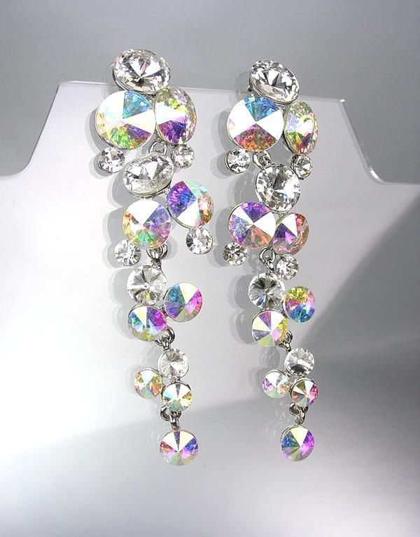 Exquisite Clear Iridescent Ab Czech Swarovski Crystals Waterfall Dangle Earrings