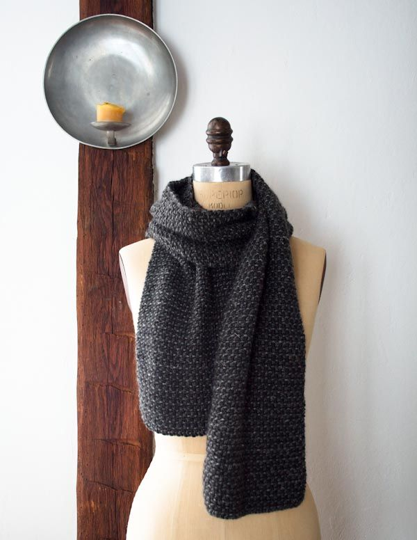 Great scarf and easy, too. Three colors/textures of yarn, seed ...