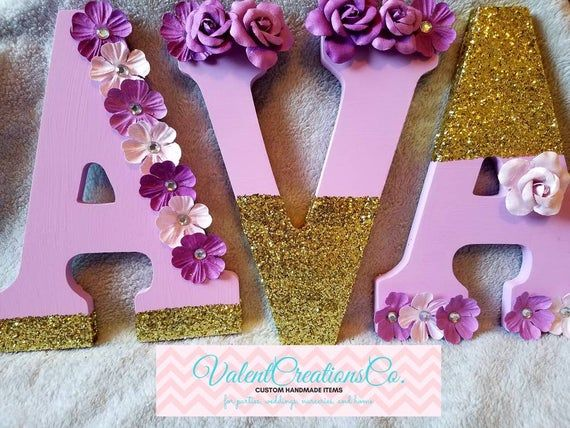 Pink and gold letters, lavender and gold letters, Flower letters, Glitter letters, Photo prop, nurse images