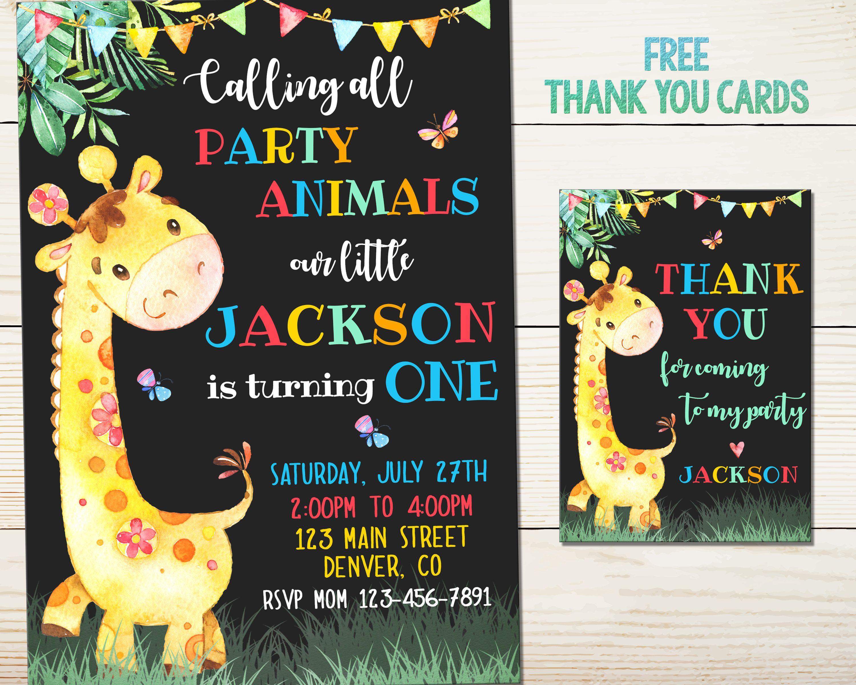 Personalized Giraffe Card Giraffe Birthday Party Giraffe Party Giraffe Giraffe Birthday Invitation