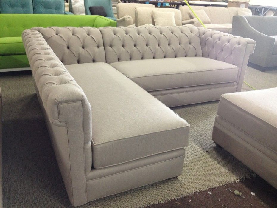 Decorations Inspiration. Snazzy Tufted Sectional For Livingroom Furniture  Design And Ideas: Trendy Creamy Tufted Sectional Backseat With L Shape  Models As ...