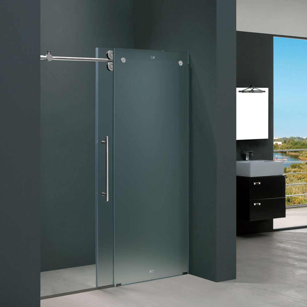 Vigo 60 Inch Frameless Frosted Glass Sliding Shower Door 12642073