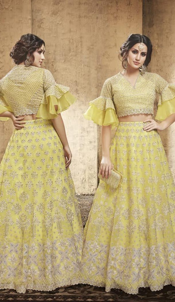6cae34487832 Yellow Color Net Heavy Embroidery Designer Lehenga Choli #lehenga  #lehengacholi #designerlehenga #fashion