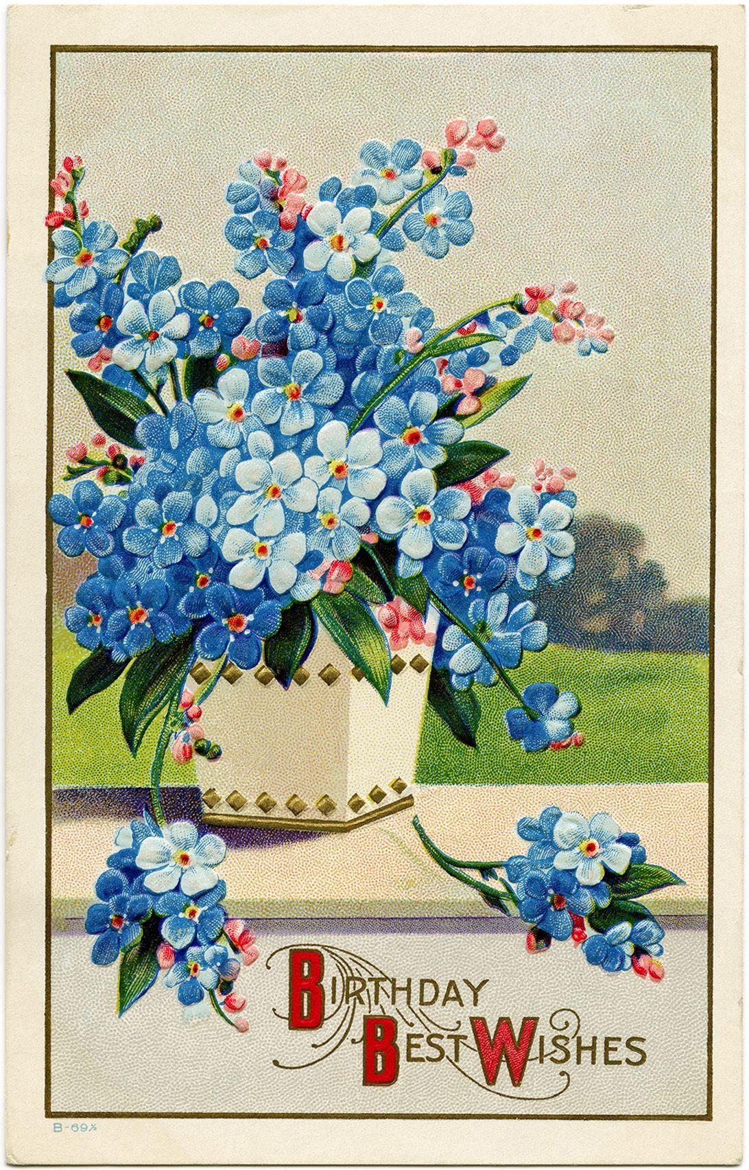 Victorian Postcard Graphics Vintage Birthday Postcard Blue Flower