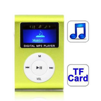 Light+Green+TF+(Micro+SD)+Card+Slot+MP3+Player+with+LCD+Screen,+Metal+Clip