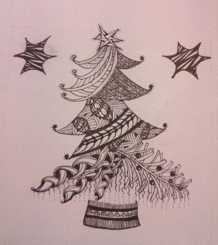 Zentangle Christmas tree - I am printing my own Christmas cards this ...