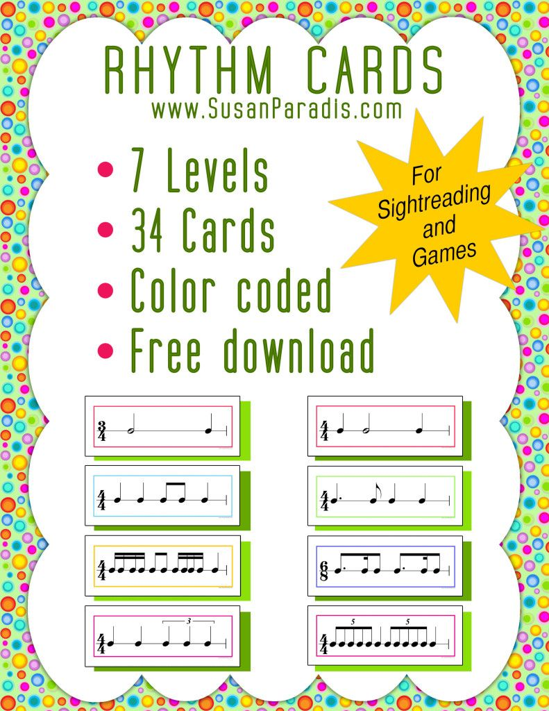 Color Coded Rhythm Pattern Cards | Pianos, Music education and Free