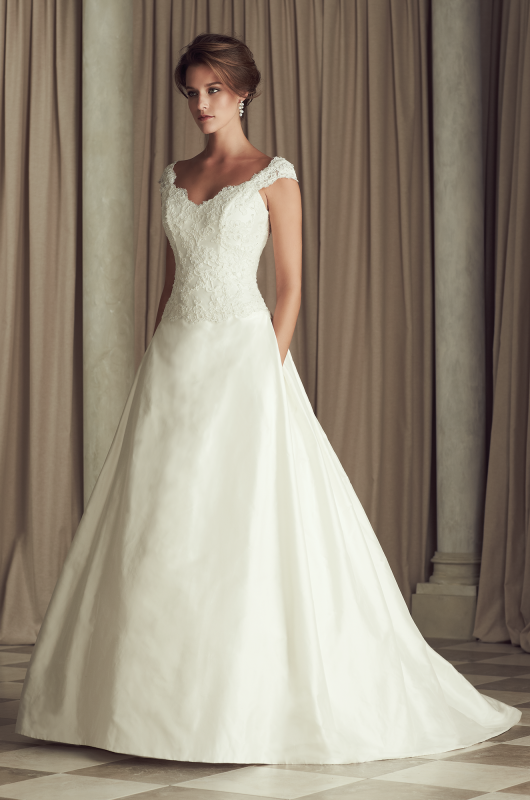 French Alencon Lace And Silk Dupioni Wedding Dress Beaded V Neck Dropped Waist Bodice With Cap Sleeves Low Back Flat Front Pleated