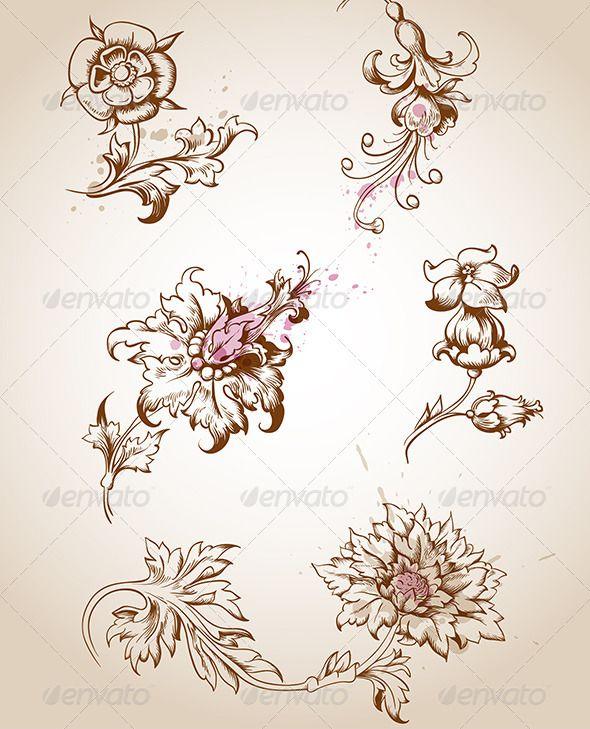 Vector Vintage Victorian Floral Elements For Design. Zip