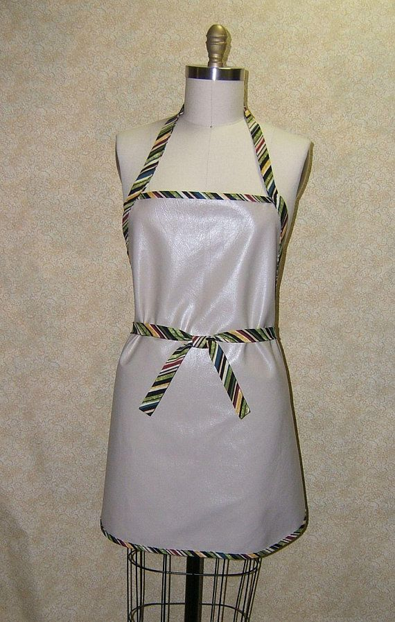 Vinyl apron tan vinyl with stripe cotton trim waterproof