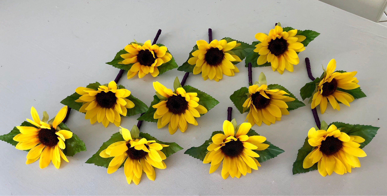 1 Sunflower Boutonnière Silk Sunflower Boutonnière | Etsy ...