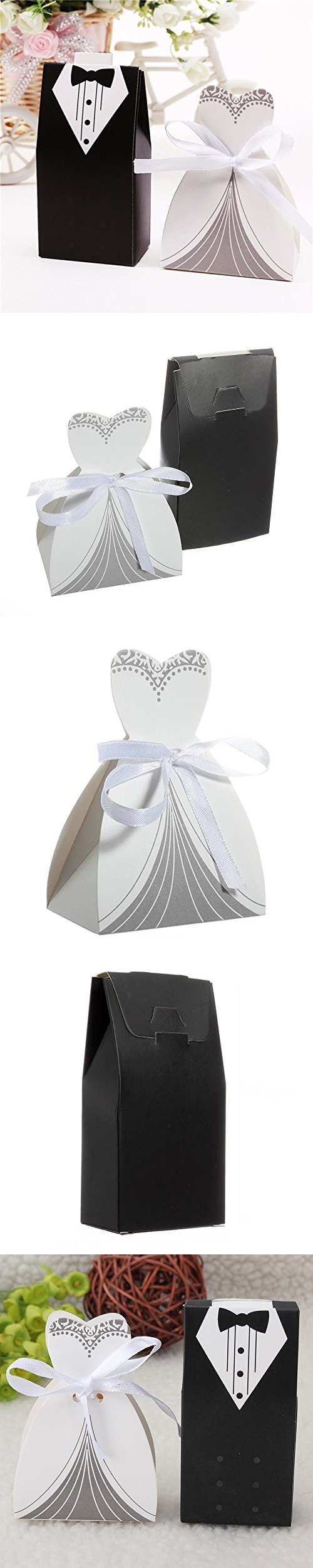 IGBBLOVE 100Pcs Wedding Favor Candy Box Bride & Groom Dress Tuxedo ...