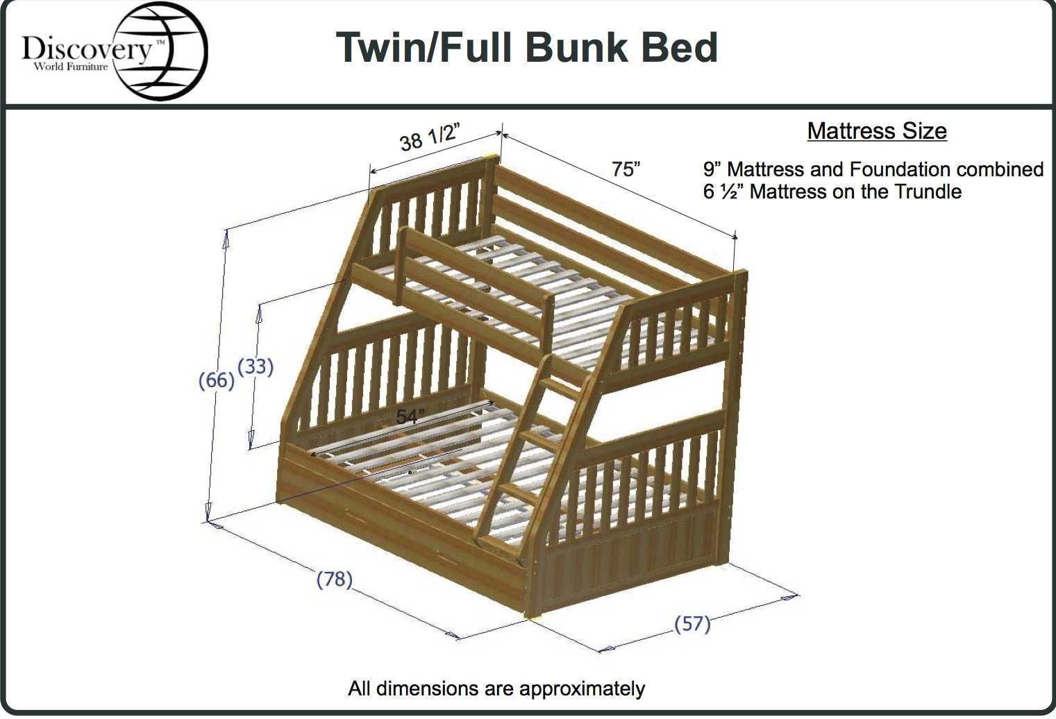 Alluring shop size dimensions vs full full bunk beds dimen