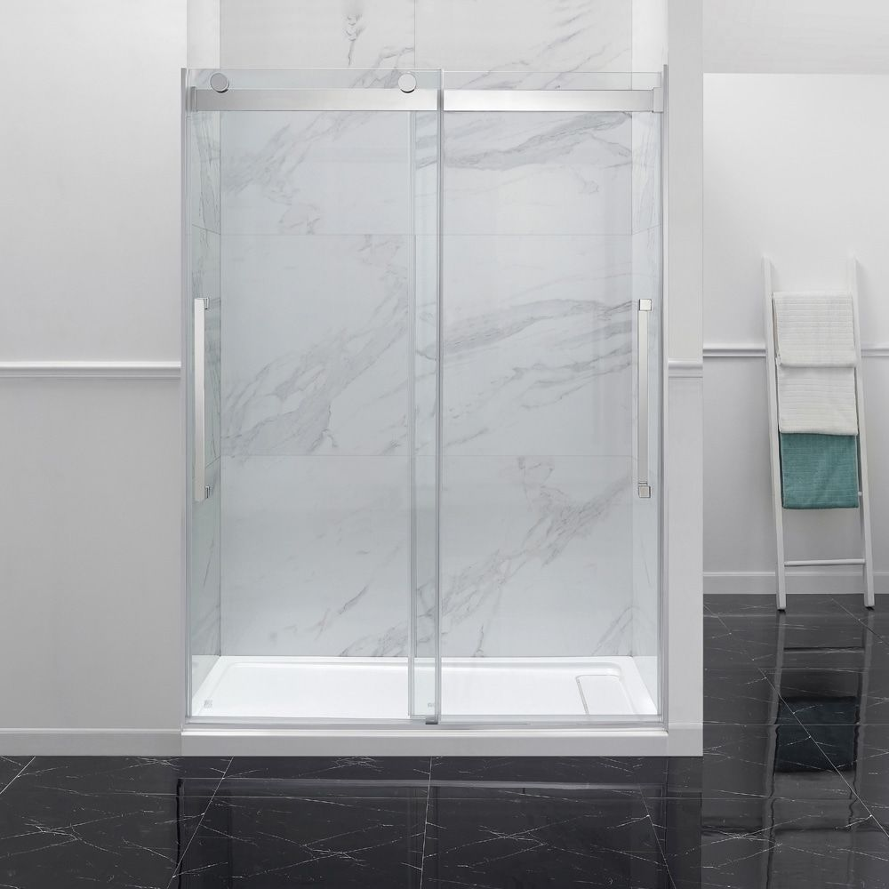 OVE Decors Montebello 60 in. Chrome Frameless Sliding Shower Door, Clear #framelessslidingshowerdoors