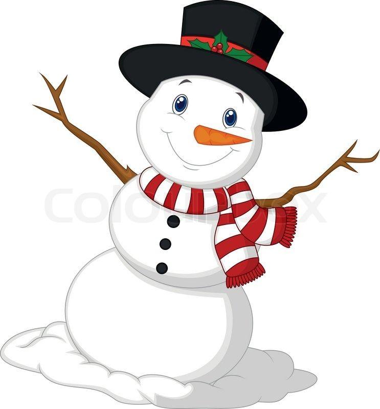 Weihnachten-Schneemann-Cartoon tragen einen Hut und roten Schal ...