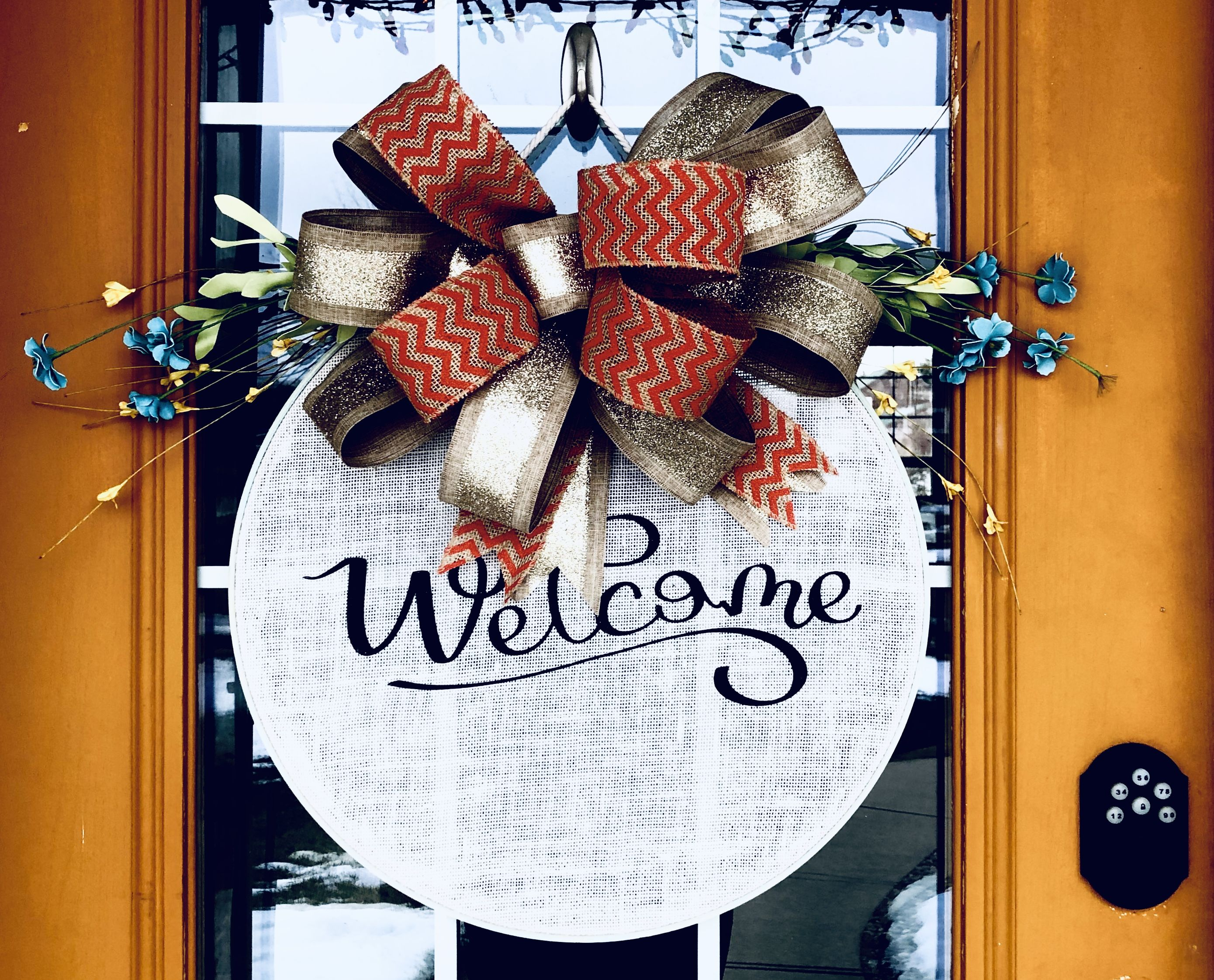 Photo of Light weight wooden hoop welcome wreaths by Craftti