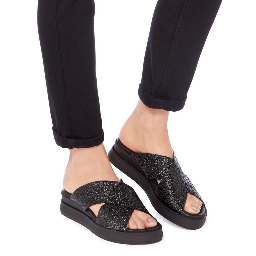 0381edaf38f LUST - Cross Strap flatform Slider Sandal - black