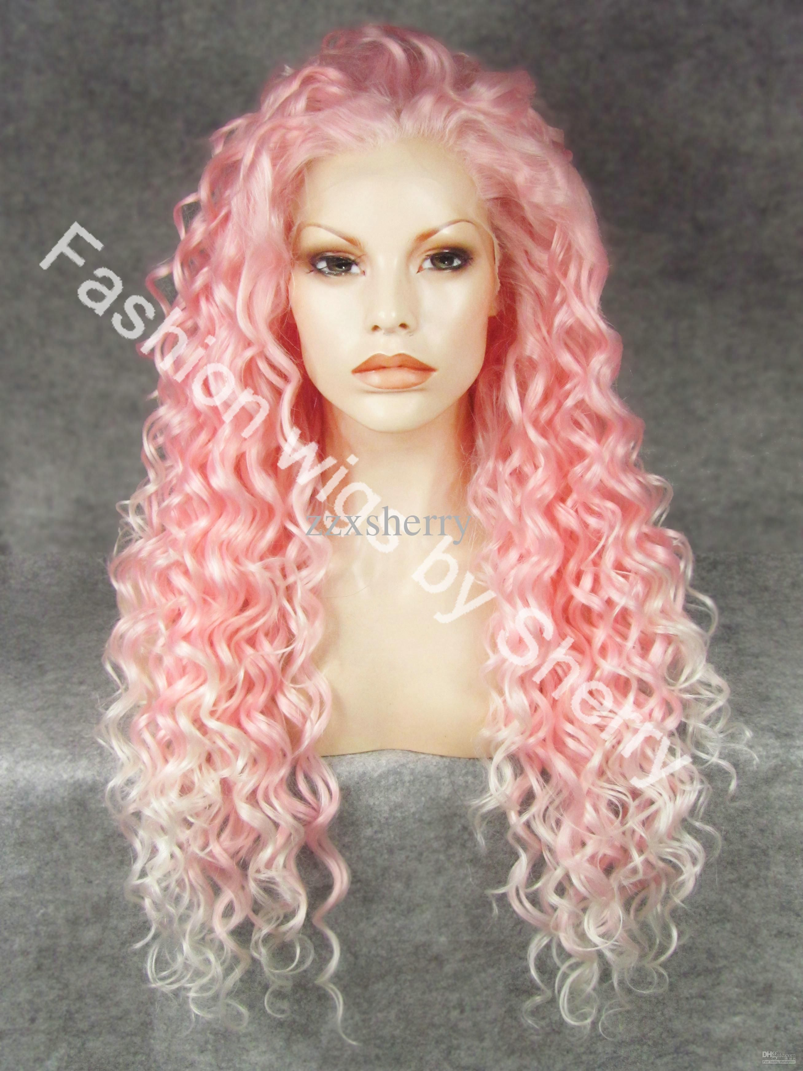 "26"" Extra Long 3100b 1001 Pink Tip white Curly Heat Friendly"