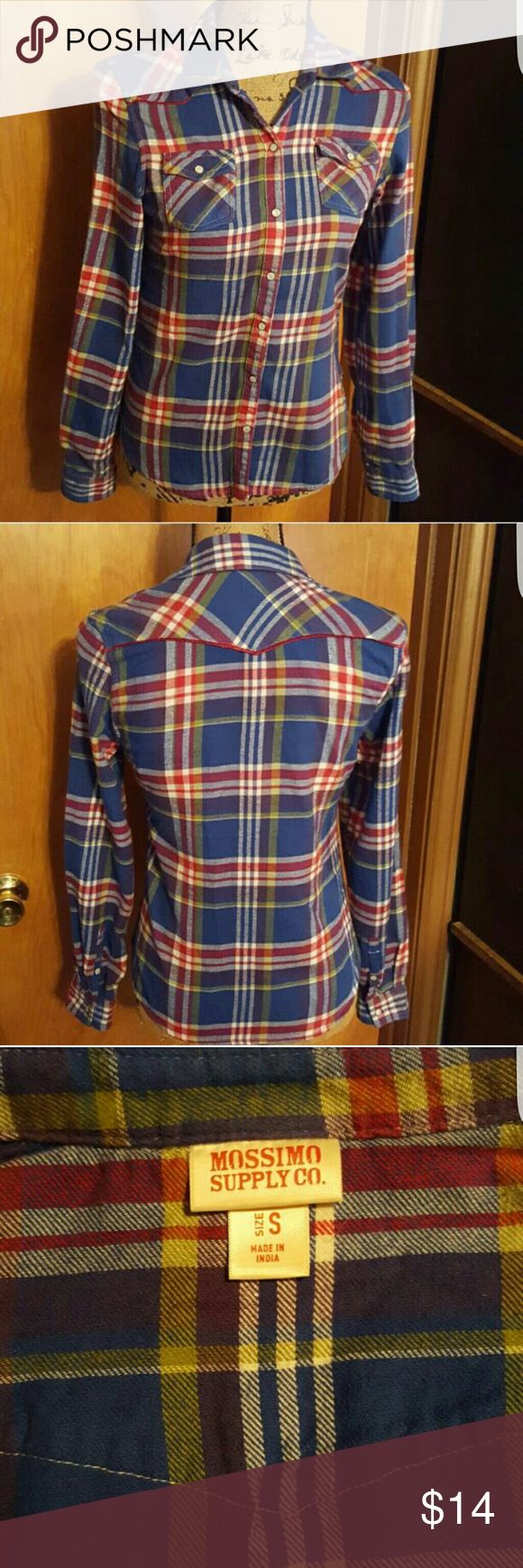 Flannel shirts yellow  NEW wo tags Mossimo plaid flannel shirt  Plaid flannel Flannel