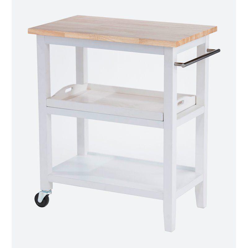 Trinity Wood Kitchen Cart - TBFLWH-140 | White kitchen cart ...