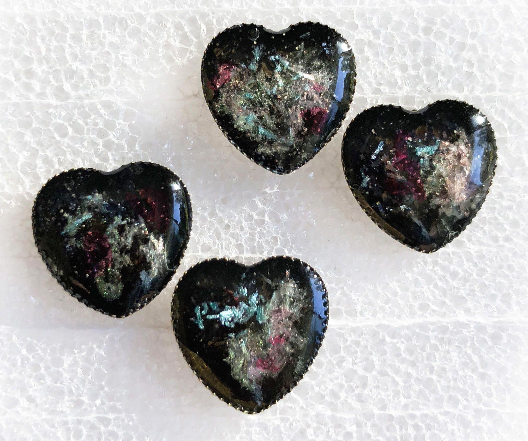 Faux Black Opal Cast Resin Earrings Resin jewelry, Black