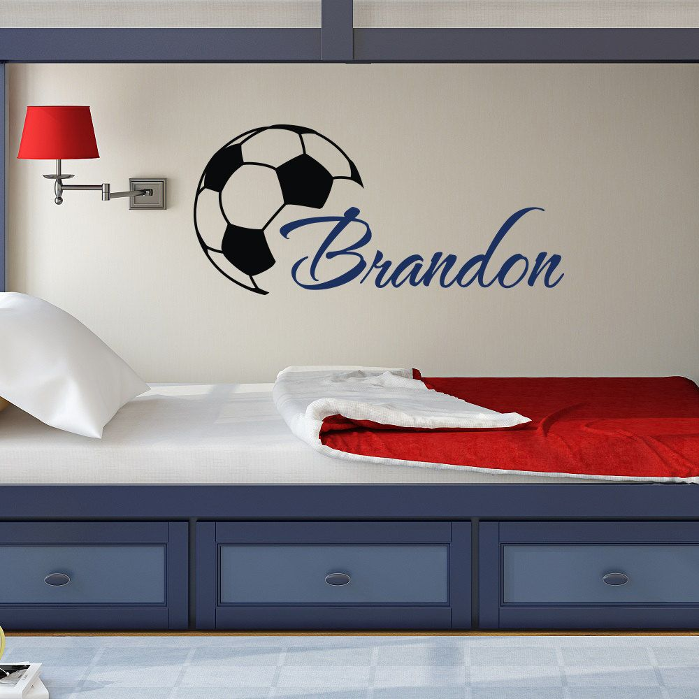 Custome boys name wall decals with soccer art wall stickers custome boys name wall decals with soccer art wall stickers personalized home kids room decor vinyl amipublicfo Image collections
