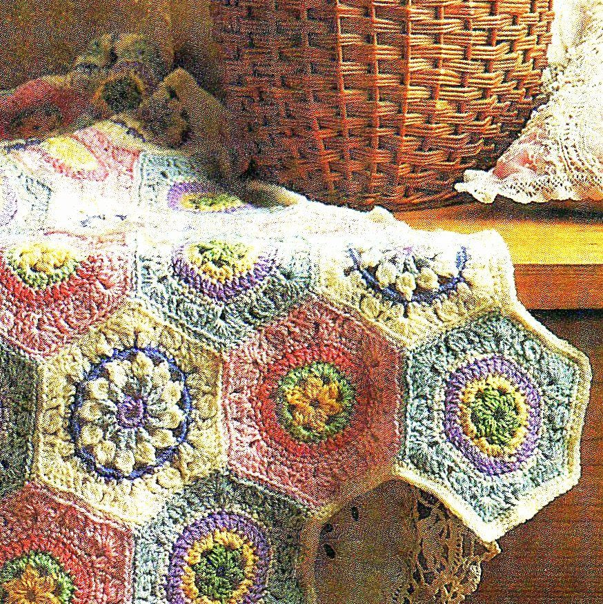 3 Vintage Hexagon Crochet Square Flower Motifs Granny Square Afghan ...