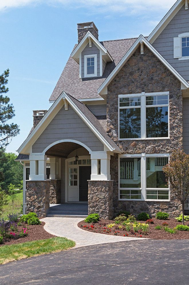 Wonderful Family Home Interior IdeasThe Exterior Of This Home Features Gray Siding  And Natural Fieldstone.