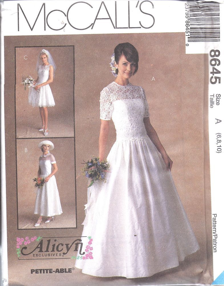 8645 UNCUT McCalls SEWING Pattern Misses Alicyn Excl. Bridal Gown ...