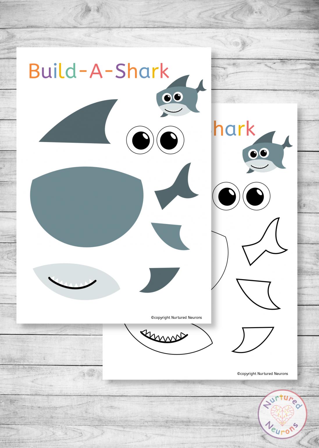Build A Shark Craft Free Printable For Preschool