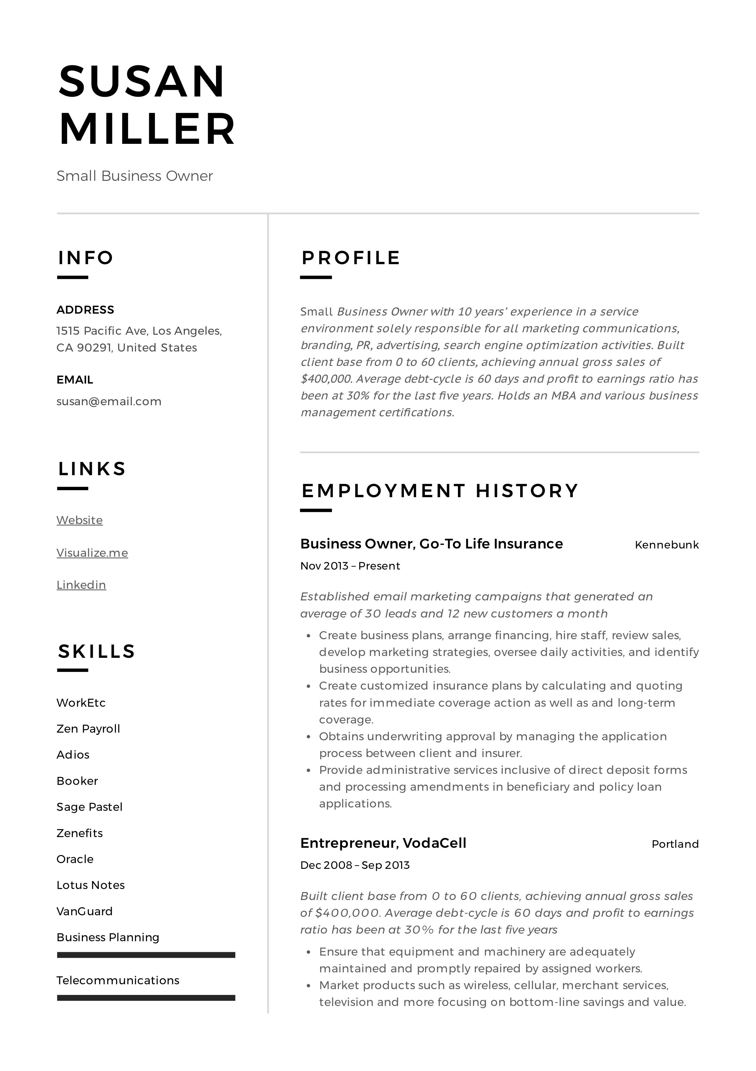 Small Business Owner Resume Sample Resume Examples Chef Resume Resume Guide