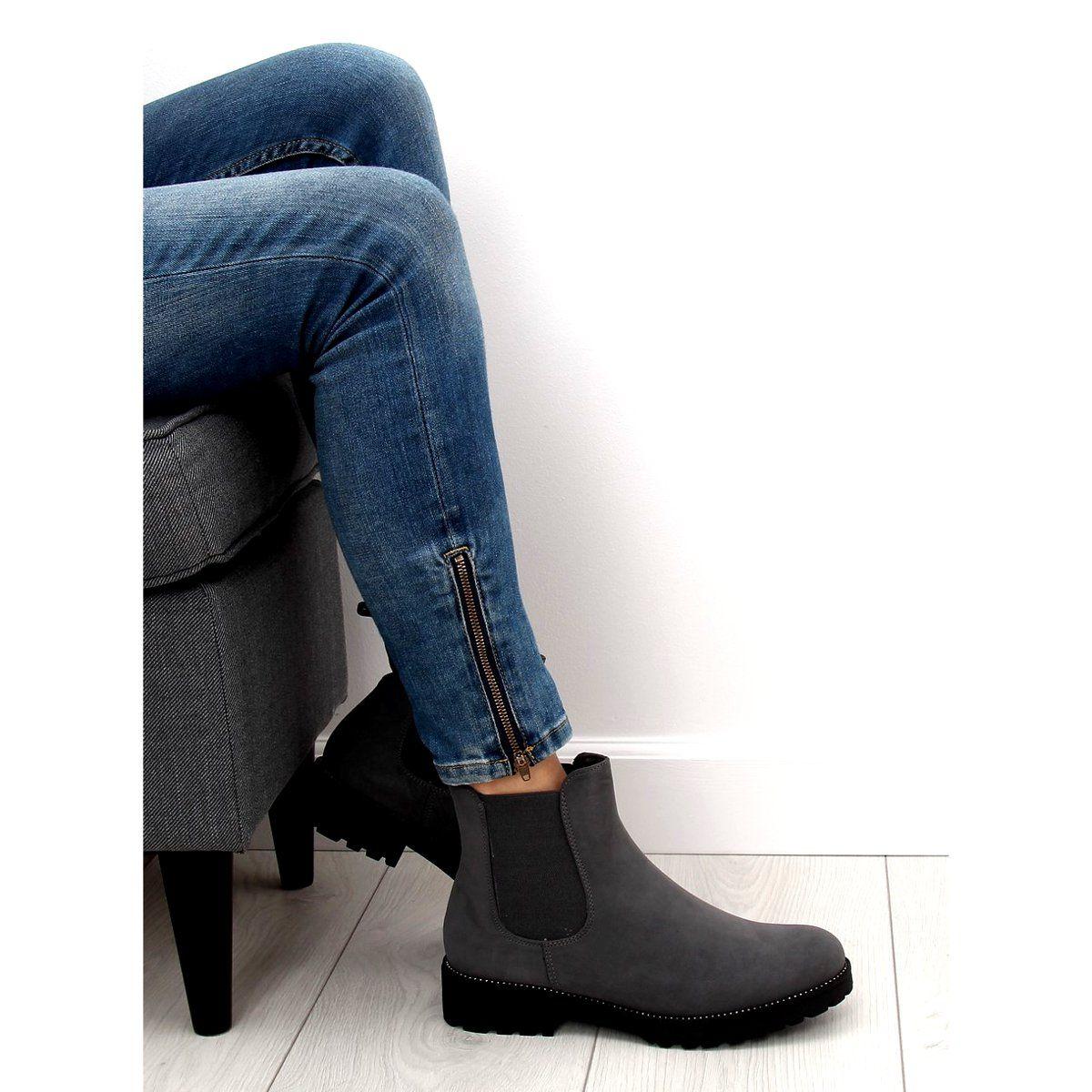 2eac1ec166b11 Sztyblety damskie szare SP16 Grey   Botki damskie   Shoes, Boots i ...