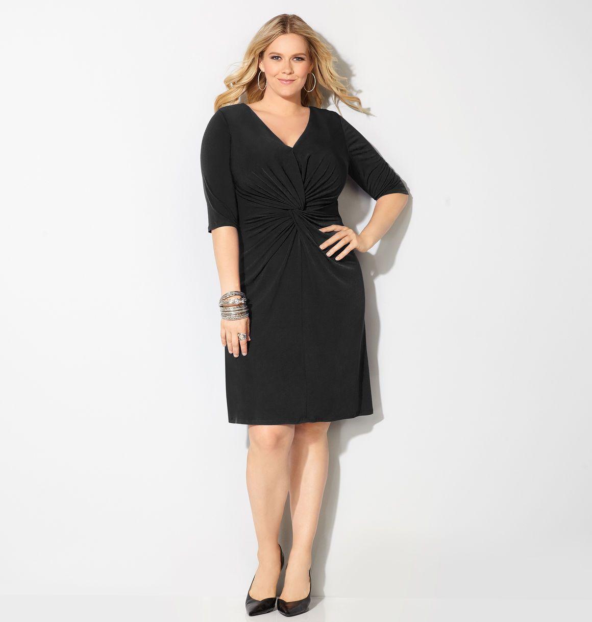 Plus Size Fashion Clothing Including Tops Pants Dresses Coats Suits Boots And More Avenue Plus Size Black Dresses Black Dress With Sleeves Black Dress [ 1218 x 1160 Pixel ]