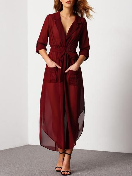 Red Deep V Neck Self-Tie Pockets Chiffon Dress - Crystalline Burgundy Dress 18cd003f7