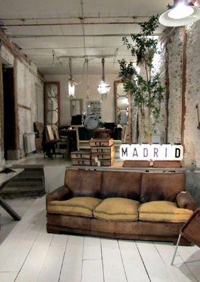 Vintage wohnzimmer industriechic industrial look fabrik wohnideen