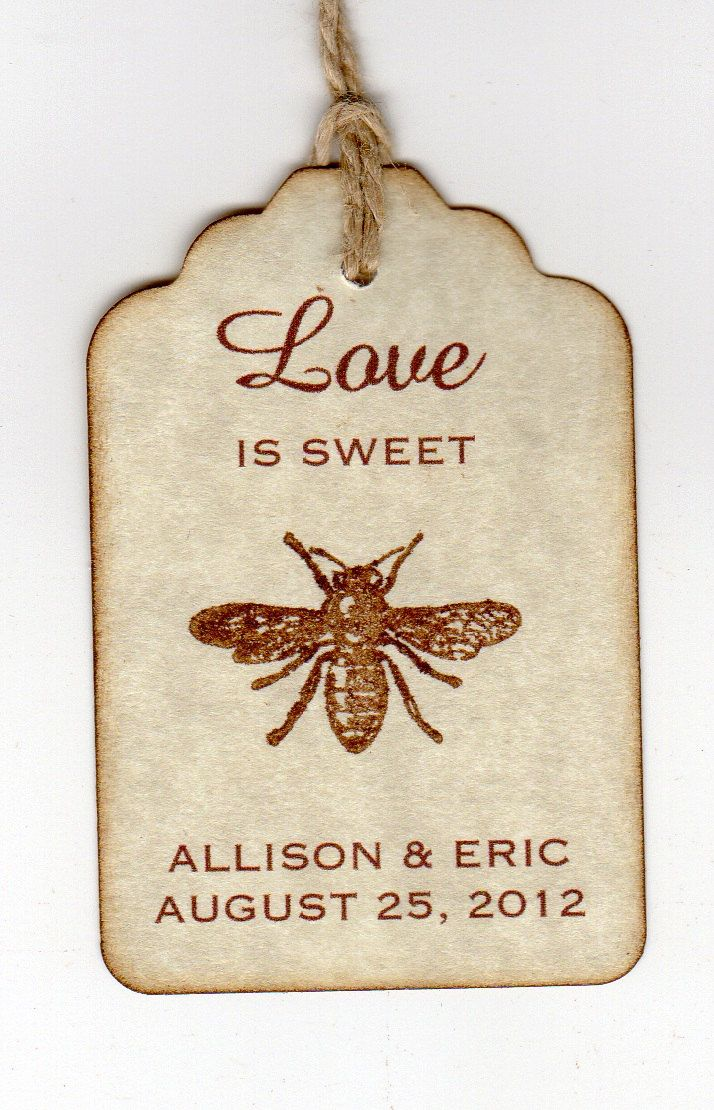 50 Wedding Favor Gift Tags, Love Is Sweet Thank You Tags, Love Is ...