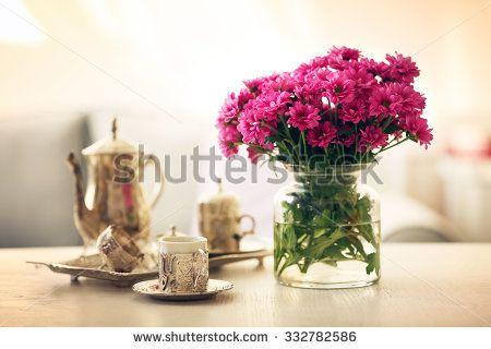 Beautiful Flowers In Vase On Table In Room Flowers On Desk