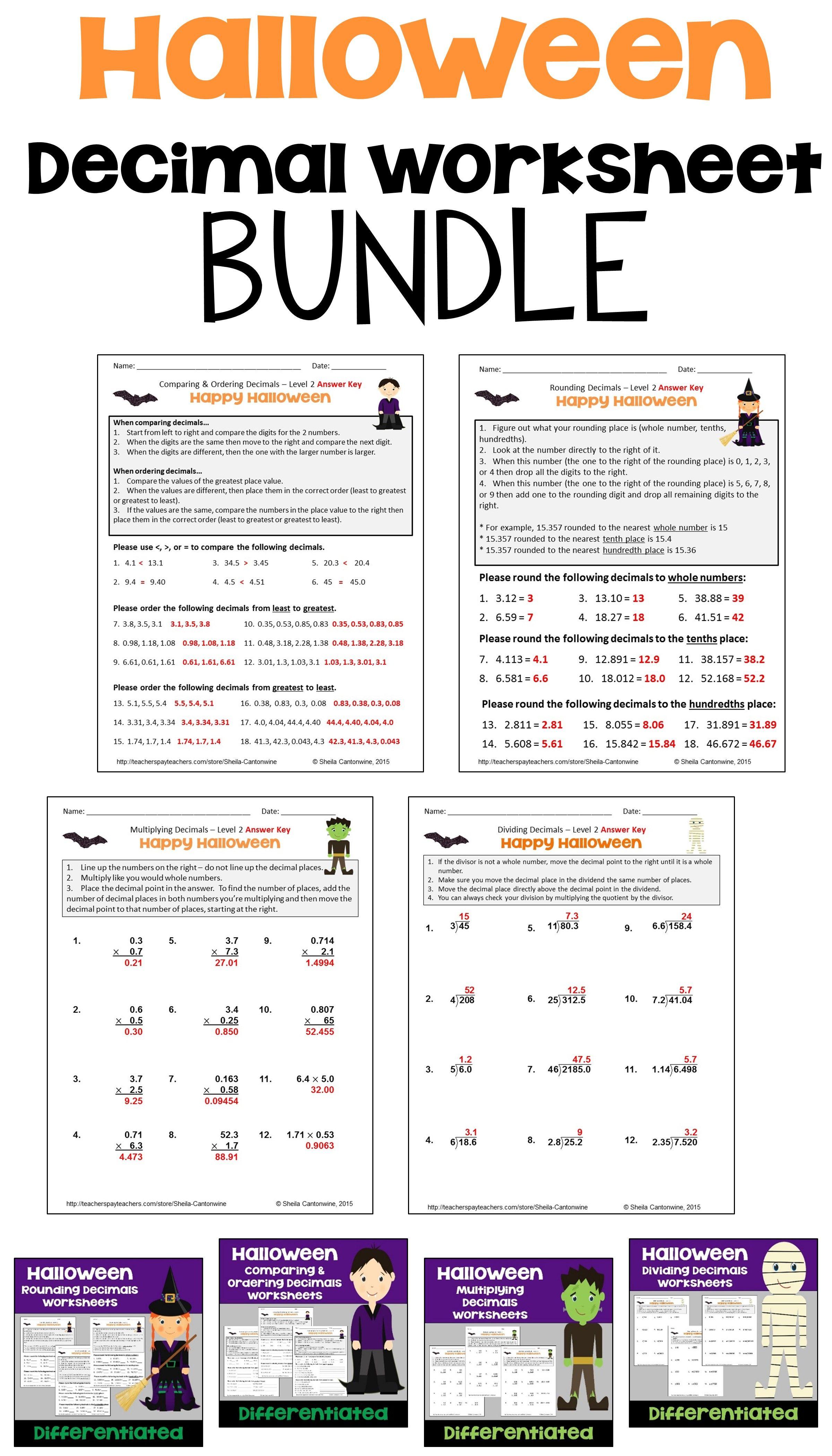 Halloween Math Decimal Worksheet Bundle For Morning Work